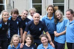 Bernie Shrosbree and BCS pupils