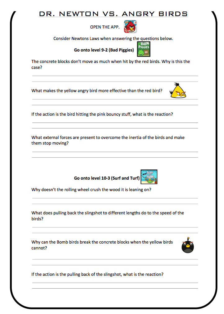 Newtons Laws Vs Angry Birds PE Scholar – Newtons Laws Worksheet