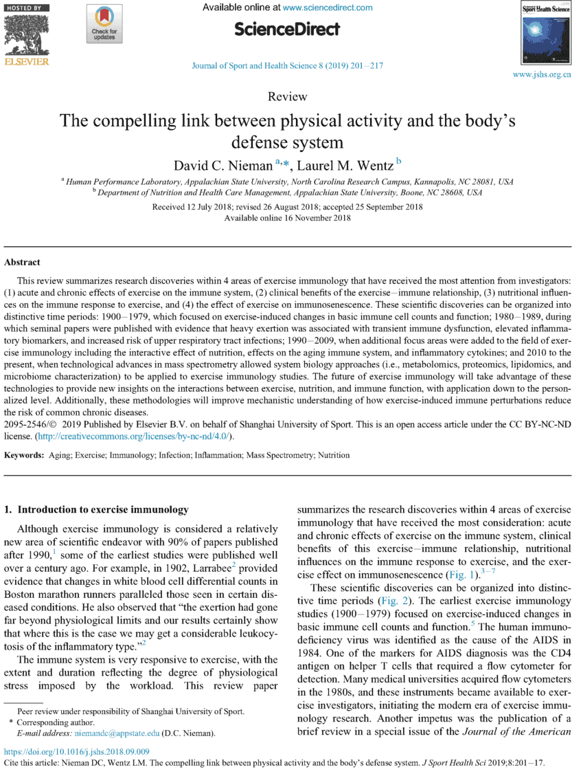 Exercise immunology: The compelling link between physical activity and the body's defense system