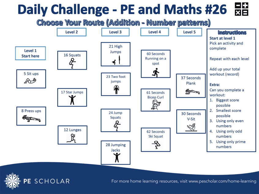 Daily Challenge Cards – Home Learning – PE & Maths (Cards 26-30)