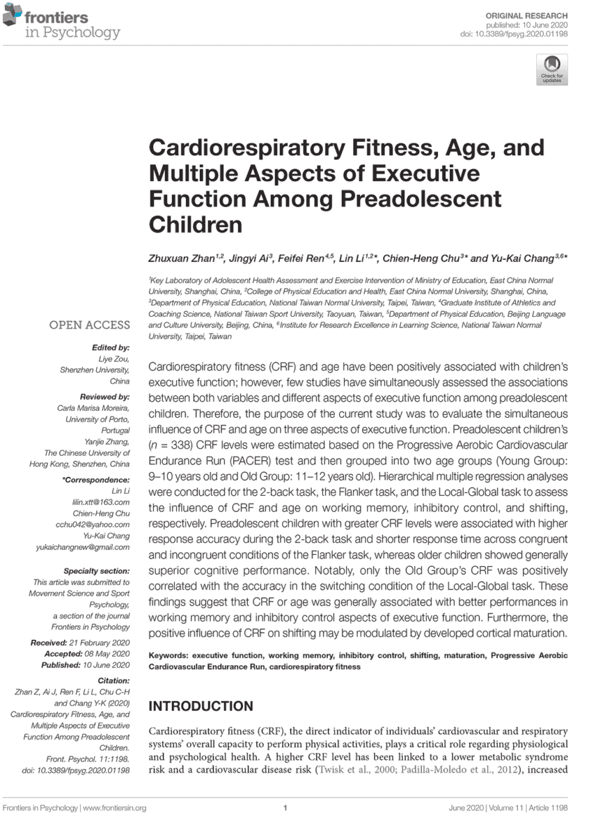 Cardiorespiratory Fitness, Age, and Multiple Aspects of Executive Function Among Preadolescent Children