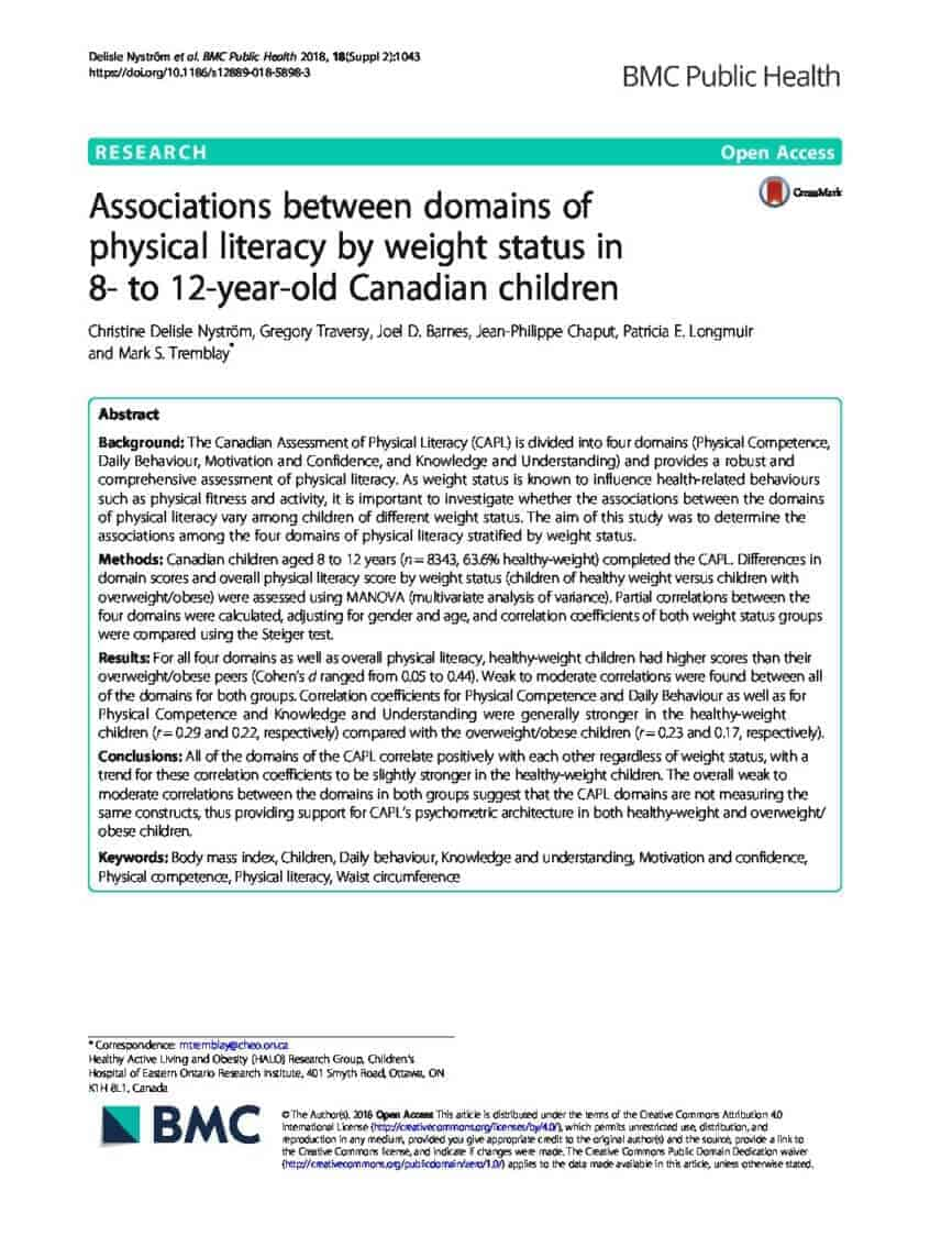 Associations between domains of physical literacy by weight status in 8- to 12-year-old Canadian children